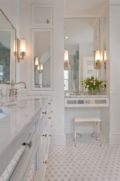 lovely master bathrooms, carrera marble   Bright White Bathrooms