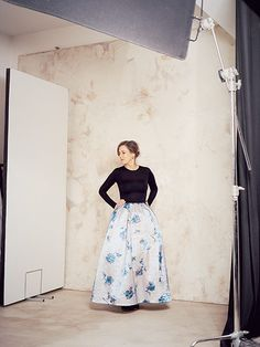 Kirsty Wark: Kirsty Wark wearing black knit and blue and white flower patterened skirt