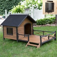 Boomer & George Lodge Dog House with Porch & Heater - Large - Traditional - Pet Care - by Hayneedle