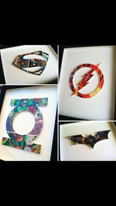 each symbol is hand-cut from a single … Kid birthday gift idea…Superhero Icons! each symbol is hand-cut from a single comic book page, mounted on acid-free foam core, and float mounted on board. Geek Crafts, Diy And Crafts, Crafts For Kids, Arts And Crafts, Paper Crafts, Comic Book Crafts, Comic Book Pages, Comic Books, Diys