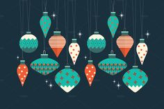 christmas baubles vector by lyeyee on Creative Market