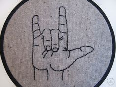 I Love You Sign Language Embroidery Hoop Art 4 by ThePhantomMoon