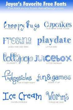 Get great FREE fonts that kids will love. These are Jayce's Favorite fonts, brought to you from Ashe Design photography templates. Cute Fonts, Fancy Fonts, Calligraphy Fonts, Typography Fonts, Calligraphy Alphabet, Islamic Calligraphy, Kid Fonts Free, Fonts For Kids, Font Free