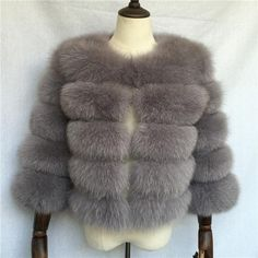 Luxurious 100% Genuine Thick Fox Fur Jacket Fox Fur Jacket, Fur Coat, Female, Luxury, Lady, Casual, Leather, Jackets, Style