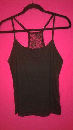 Black lace back tank top