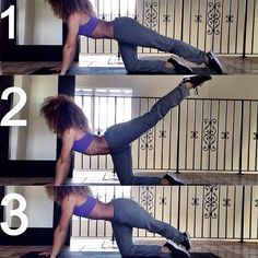 This is a great workout to sculpt and shape your butt!! Begin on all fours. Extend your left leg out behind you (1). Now, kick your leg up (2), then cross it over your right leg (3). Lift your leg back up (2) and lower down to the starting position (1)  Hold the last repetition up at center (2) and pulse up for 10 more reps and then swap legs.  Do 3 sets of 10 reps..