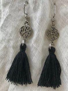 Black Tassle Earrings   suzanna-mcmahan Ring Bracelet, Bracelets, Vintage Items, Drop Earrings, Metal, Black, Jewelry, Jewlery, Black People