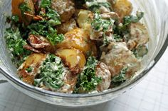 Garlicky Roasted Potato Salad with Wilted Kale & Tahini Dressing - Dinner With Julie
