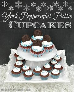 York Peppermint Pattie Cupcakes Recipe :: HoosierHomemade.com