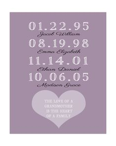 Mothers Day Gift, Gift for Grandma, From Kids, Grandparents - Dates, Names, Quote - 8x10 Family Art Print, Custom, Personalized, Unique Gift. $20.99, via Etsy.