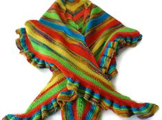 Hand Knit Multi-Colored Triangle Shawl in Bright by PointedNeedle