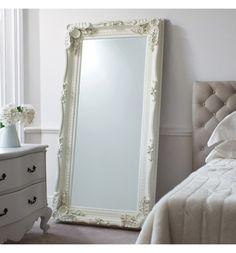Gerona White Shabby Chic Full Length Vintage Dress Mirror