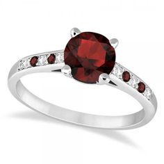 Allurez Cathedral Garnet & Diamond Engagement Ring 14k White Gold... (€1.135) ❤ liked on Polyvore featuring jewelry, rings, red ring, white gold band ring, red garnet ring, 14k engagement ring and round cut engagement rings