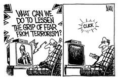 What Can We Do To Lessen The Grip Of #Fear From #Terrorism? | Apartment 46 - #Cartoon by Bruce Beattie.