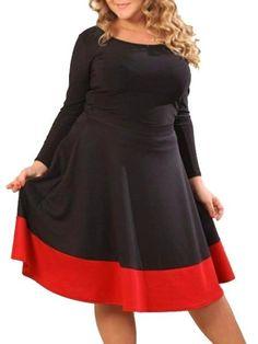 Color Block Falbala Charming Round Neck Plus Size Midi Dress #ClothingOnline #PlusSizeWomensClothing #CheapClothing #FashionClothing #womenswear #sexydress #womensdress #womenfashioncasual #womensfashionforwork #fashion #womensfashionwinter