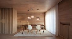 wooden interior design walls and ceiling dining room