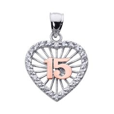 10k Two-Tone Gold Sweet 15 Años Quinceanera Pendant with Cubic Zirconia Heart. heart-shaped gift for the sweet 15 Quinceanera or fiesta de quince anos individually hand-set with clear cubic zirconia stones. finely crafted with solid 10 karat 2-tone white gold and rose gold (pink gold) in perfect polished finish. comes with free special gift packaging. made in the USA yet offered at factory direct jewelry price. ships from the manufacturer directly to the customers.