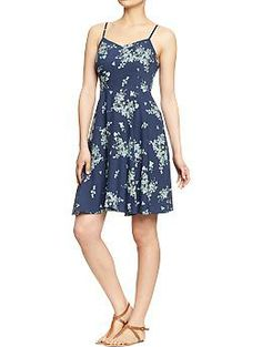 Women's Poplin-Crepe Dresses | Old Navy - I love the coral color they have as well.