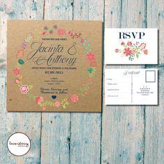 Vintage Garden Kraft Wedding Invitation Set / Square Invitation / Spring Wedding / DIY Printable / Printed Invitations with free envelopes #etsy  #design