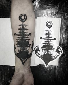 Anchor tattoo idea make the sail look more like a cross