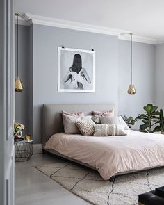 Millennial pink linen bed spread with textured cushions scattered, complemented by neutral, soft grey walls and art print. Step inside the South West London Home of Sommer Pyne to see more interior inspiration. Light Gray Bedroom, Gray Bedroom Walls, Room Ideas Bedroom, Bedroom Colors, Home Decor Bedroom, Pink Gray Bedroom, Light Grey Walls, Blush Grey Copper Bedroom, Bedroom Wall Lights