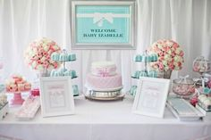 What a gorgeous Tiffany's baby shower!  See more party ideas at CatchMyParty.com!  #partyideas #tiffanys