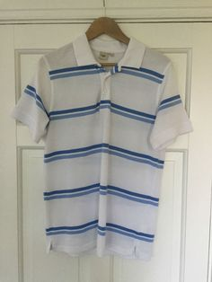 Men's White and Blue Stripe COTTON TRADERS Small 100% Cotton Polo Shirt