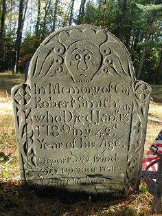 New Hampshire Cemeteries - I've seen stones similar to this in NH, but not this particular one. The soul effigies in this style are really interesting.