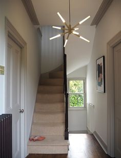 hallway makeover with m and l paints Hallway Paint, Make A Door, Picture Shelves, Upstairs Hallway, Paint Brands, Painted Doors, New Homes, Woodworking, Contemporary