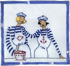 0 point de croix 2 amies en pull rayé marin - cross stitch 2 friends in striped sailor tees hirts