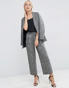 Image 1 of ASOS Relaxed Workwear Check Culotte Trousers