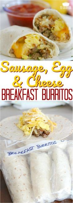 Freezer-Friendly Sausage, Egg & Cheese Breakfast Burritos recipe from The Country Cook #breakfast #kidfriendly #recipes #ideas #eggs #sausage