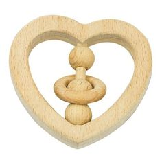 green sprouts Natural Wood Heart Rattle by i Play