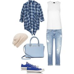 Checkered Spring Blues by hross42877 on Polyvore featuring polyvore, fashion, style, Aéropostale, Topshop, AG Adriano Goldschmied, Converse, Michael Kors and Forever New