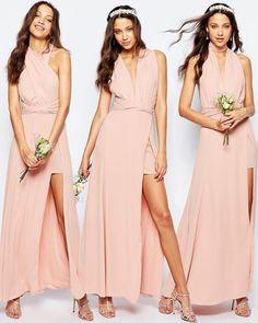 Vestido invitadas de boda multiposición Ainsley de Fame and Partners, color rosa pálido. #vestidos #moda