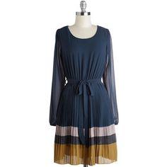 ModCloth Mid-length Long Sleeve A-line Pretty, Pretty Pleats? Dress