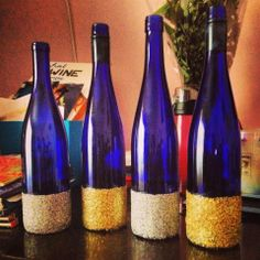 Glitter wine bottles (I'd like to first spray glitter spray on the whole bottle and then wrap the bottom in twine)