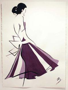 Fashion illustration of lovely purple skirt!