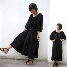 Comfort Black Cotton  Maxi Dress / Unique Summer Short  Sleeved Loose Tunic Dress S-XL (H)