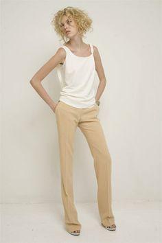 neutral pants, white tank