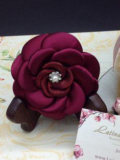 Satin & Organza Rose by Latinaloveslace.etsy.com Shades Of Burgundy, Color Shades, Handmade Flowers, Pantone Color, Corsage, Satin, Rose, Creative, Fabric