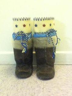 Inuit made children's sealskin kamiks by Lisa Angmarlik SOLD for $285