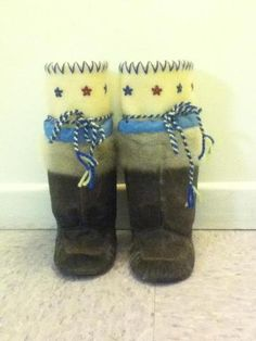 Inuit made children's sealskin kamiks by Lisa Angmarlik SOLD for $285