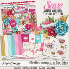 #believeinmagic:  First Kiss Collection by Amber Shaw & Studio Flergs  digital scrapbook kit