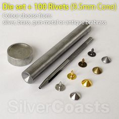 Cone rivets studs & setting tool bundle, nickel free, for sewing, leather craft, bags, purses,   shoes, punk fashion. http://r.ebay.com/vgC8iZ. £16.00
