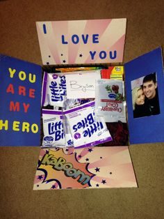 Care package #1. Superhero theme. Deployment. Deployment care package. http://cadetlifetoarmywife.blogspot.com/