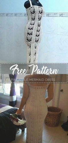Pineapple mermaid dress free pattern Crochet Shorts Pattern, Crochet Shirt, Crochet Sweaters, Crochet Patterns, Diy Fashion Tops, Diy Crop Top, Pineapple Crochet, Old Shirts, Crochet Clothes