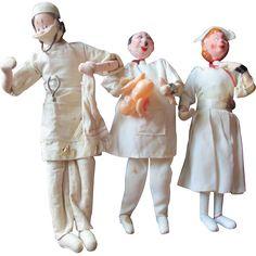 CLoth doll lot Doctors Nurses Dentist Surgeons Medical dolls Roldan Klumpe