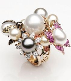 {Gorgeous Ring No. 9}  Treasure Garden Ring by Mario Buzzanca GioielliTreasure Garden Ring by Mario Buzzanca Gioielli 18K Rose Gold Pearl, Sapphire, Diamond and