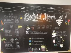 Minimal and colourful info chalkboard at the Bedford Manor Guesthouse The Bedford, Chalkboard Art, Minimal, Fall Chalkboard Art, Chalkboard Sayings